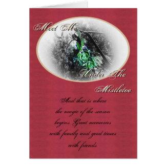 Tarjeta Solsticio de invierno rústico de Yule del muérdago