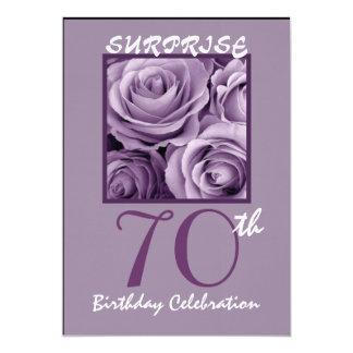 Tarjeta SORPRENDA a la 70.a fiesta de cumpleaños invitan a