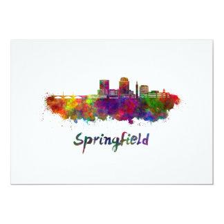 Tarjeta Springfield MA skyline in watercolor