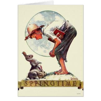 Tarjeta Springtime, muchacho 1935 con el conejito