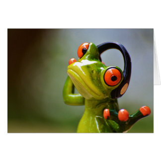 Tarjeta Sr. Frog con los auriculares