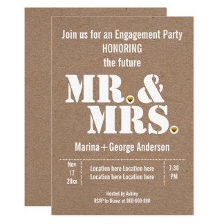 Tarjeta Sr. y señora fiesta de compromiso del boda de