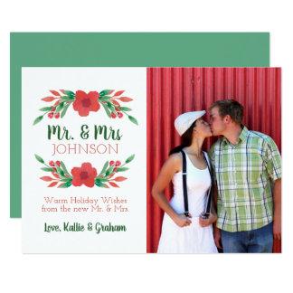 Tarjeta Sr. y señora Holiday Card de la foto floral del
