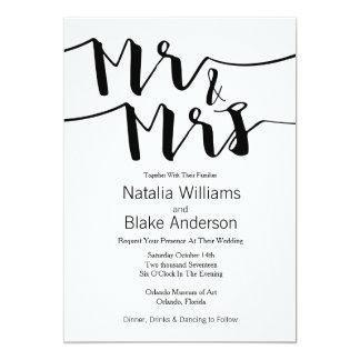 Tarjeta Sr. y señora negros y blancos Modern Wedding