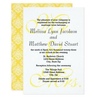 Tarjeta Sr. y señora Yellow - el boda 3x5 y la recepción