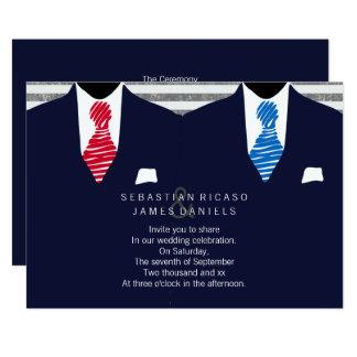 Tarjeta Sr. y Sr. Suit y boda gay del lazo (rojo azul)