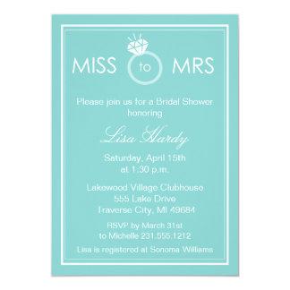 Tarjeta Srta. a señora Bridal Shower Invitation -