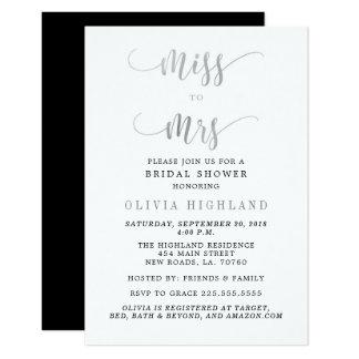 Tarjeta Srta. de plata a señora Bridal Shower Invitations
