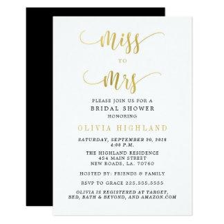 Tarjeta Srta. del oro a señora Bridal Shower Invitations