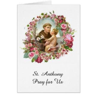 Tarjeta St Anthony de los rosas de Jesús del bebé de Padua
