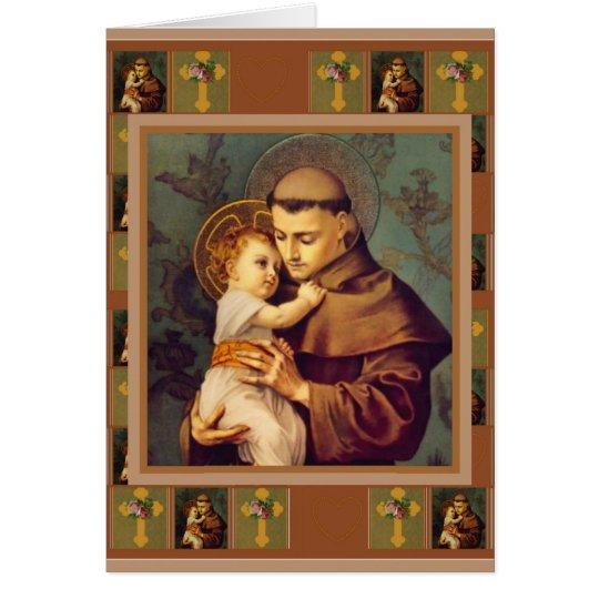 Tarjeta St Anthony de Padua con los rosas cruzados de