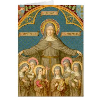 Tarjeta St. Clare de Assisi y del saludo de las monjas