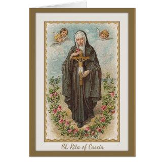 Tarjeta St. Rita de Cascia w/angels y crucifijo