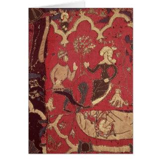 Tarjeta Stumpwork que representa Tristan y a Isolda