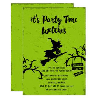 Tarjeta Su fiesta de Halloween de las brujas del tiempo