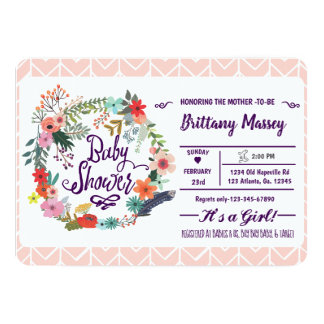 Tarjeta Su un chica - fiesta de bienvenida al bebé floral