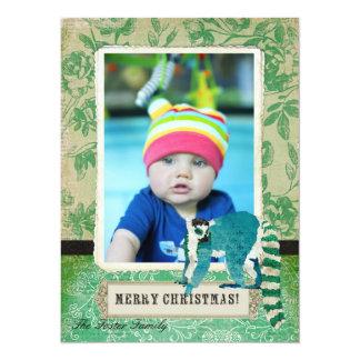 Tarjeta subió jade de la foto del navidad del invitacion personal