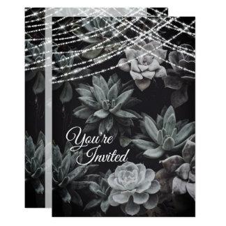 Tarjeta Succulents hermosos y luces que casan la