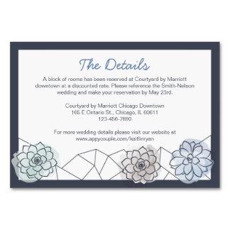 Tarjeta suculenta geométrica del recinto del boda