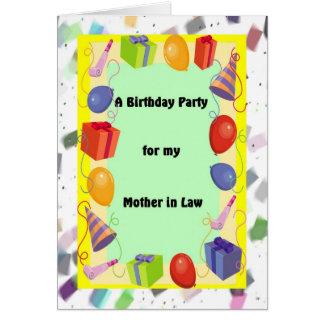 Tarjeta Suegra de la fiesta de cumpleaños, festiva
