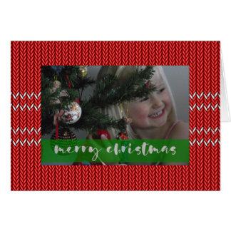 Tarjeta Suéter del rojo de las Felices Navidad