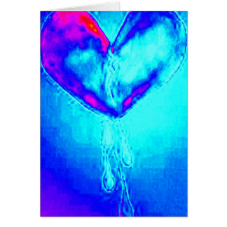 Tarjeta Superviviente azul del corazón quebrado