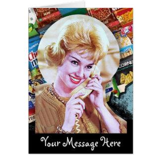Tarjeta Sus palabras con la señora del teléfono 60s