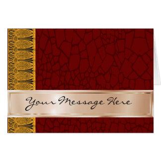 Tarjeta Sus palabras en de cobre y marrón con el ornamento