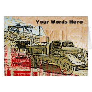 Tarjeta Sus palabras en el camión viejo