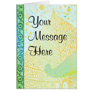 Tarjeta Sus palabras en el papel de la aguamarina y