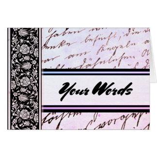 Tarjeta Sus palabras en la escritura de la lavanda y