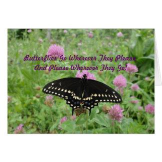 Tarjeta Swallowtail oscuro que alimenta en trébol