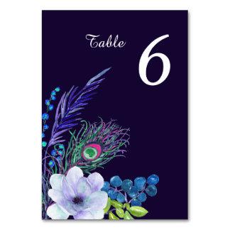 Tarjeta Tabla floral azul del boda de la pluma de Boho