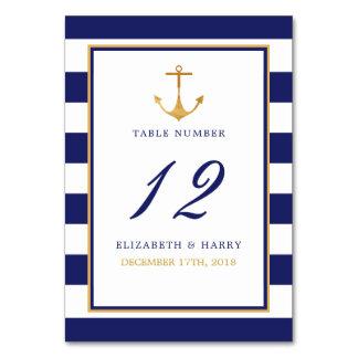 Tarjeta Tabla náutica del boda del ancla del oro del