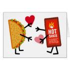 Tarjeta Taco y salsa caliente - corazones lindos del el