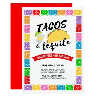 Tarjeta Tacos y fiesta de cumpleaños del Tequila