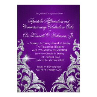Tarjeta Tami purple silver glitter cascade shimmer