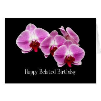 tarjeta tardía de las orquídeas del rosa del