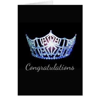 Tarjeta Tarjeta-Congrats azul del saludo de la corona de