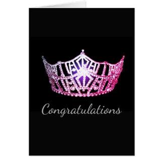 Tarjeta Tarjeta-Congrats rosada del saludo de la corona de