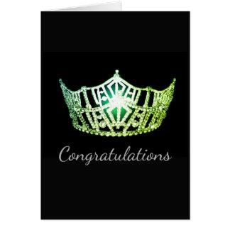 Tarjeta Tarjeta-Congrats verde del saludo de la corona de