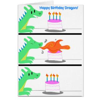Tarjeta ¡Tarjeta de cumpleaños del dragón divertida!