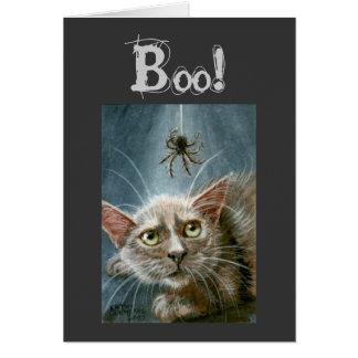 Tarjeta ¡Tarjeta de Halloween, gato y araña, abucheo!