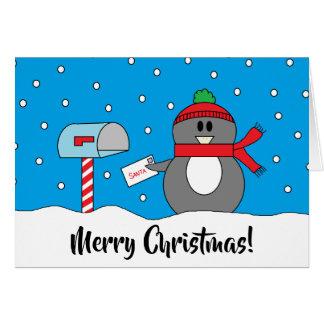 """Tarjeta """"Tarjeta de Navidad del pingüino del buzón"""""""
