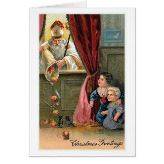 """Tarjeta """"Tarjeta de Navidad del vintage de los saludos del"""