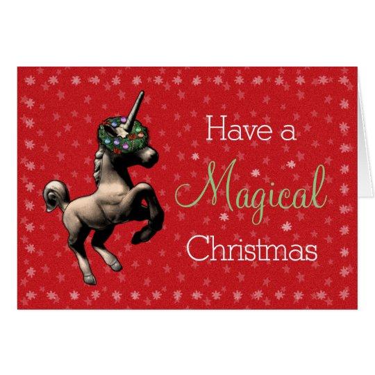 """Tarjeta """"Tarjeta de Navidad mágica del unicornio del día"""