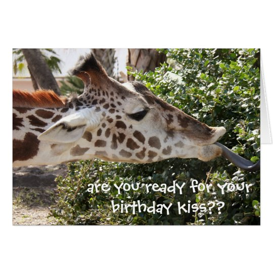 Tarjeta ¿Tarjeta divertida de la jirafa, lista para su