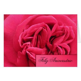 Tarjeta Tarjeta: Feliz Aniversário - color de rosa rosado