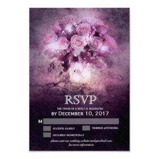Tarjeta Tarro de albañil con los rosas rosados RSVP