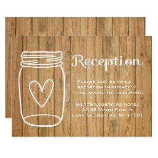 Tarjeta Tarro de albañil de madera rústico de la recepción